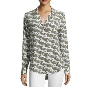 Equipment Keira Silk Horse-Print Blouse XS